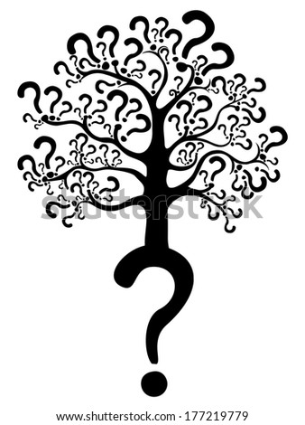Tree of questions isolated on White background.  illustration - stock photo