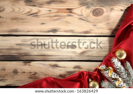 tree of snow and red satin  - stock photo