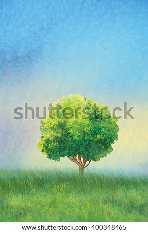 Tree on a green meadow and light blue sky, Summer Holiday landscape, Green tree, green grass, sky. Digital drawing. For Art, Print, Scrapbook, Web design. - stock photo