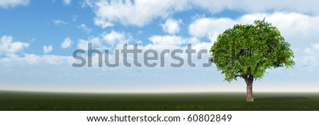 Tree on field. The bright blue sky. 3D
