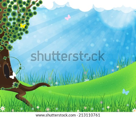Tree on meadow with grass, blue sky with clouds and butterflies - stock photo
