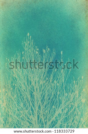 tree on old grunge paper - stock photo
