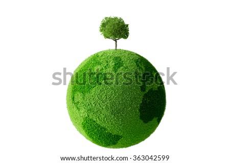 Tree on the globe - stock photo