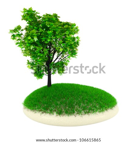 Tree on the rock nature illustration 3d render - stock photo