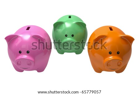tree piggy banks of different color isolated on whitethree piggy banks for choice