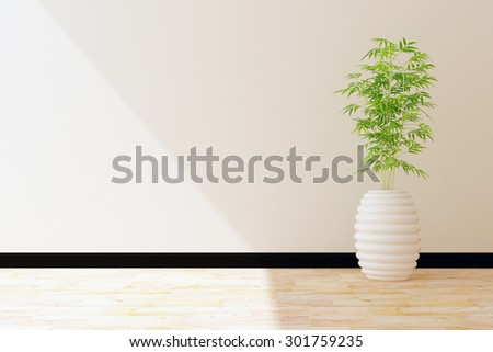 tree pot and white wall interior decorated - stock photo