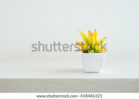 Tree pots decoration on wooden table  - stock photo