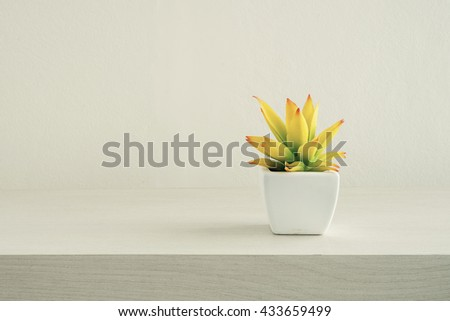 Tree pots decoration on wooden table, Film simulation - stock photo