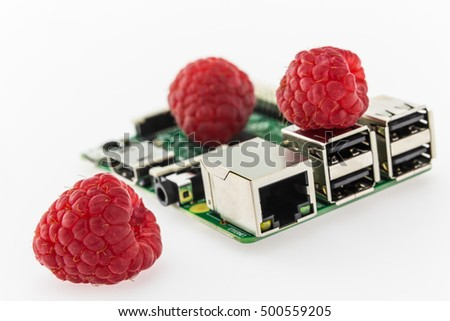 tree raspberries and circuit board with rj45, hdmi and usb connectors