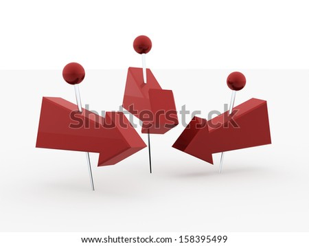 Tree red arrows pierced with push pin on white background - stock photo