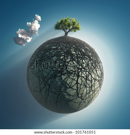 tree roots covering the planet - stock photo