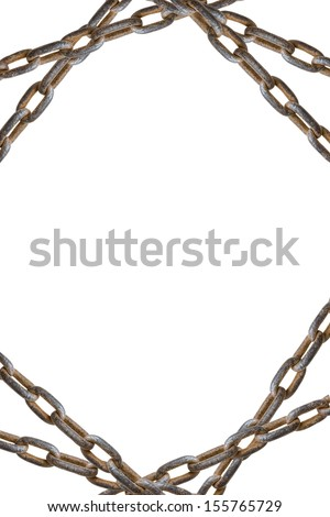 tree rusty chains, over a white background - stock photo