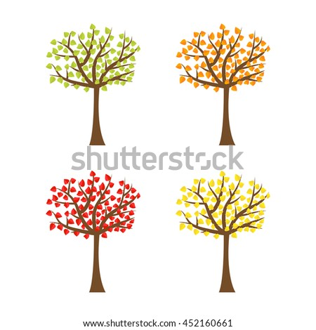 Tree set with different color leaves. Trunk silhouette. Deciduous tree in summer, autumn, spring season. White background. Isolated. Flat design.