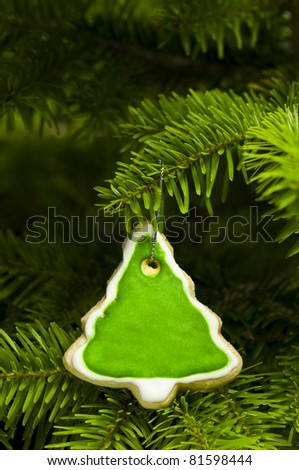 Tree shape short bread cookie in Christmas tree