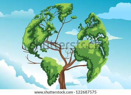 Tree shaped world map.JPG- (EPS vector version id 119136910,format also available in my portfolio) - stock photo