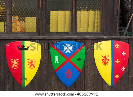 tree shields with banners families medieval families - stock photo