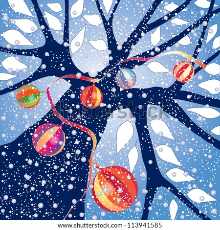 Tree silhouette with falling snow and Christmas ornaments, sky blue background, high resolution JPEG. Vector format is available. Check portfolio. - stock photo