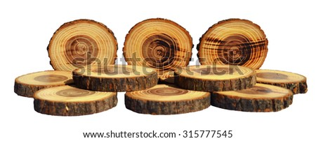 Tree slices with barks