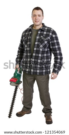 tree surgeon, man holding hedge trimmer isolated on white - stock photo