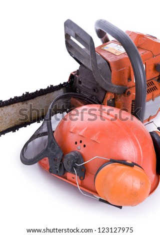 tree surgeon tools on white, chainsaw, helmet with shield and ear defenders portrait - stock photo