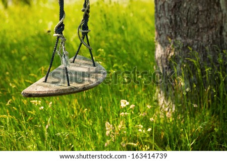 Tree swing made of wood and rope in tall green grass. Close up detail. - stock photo