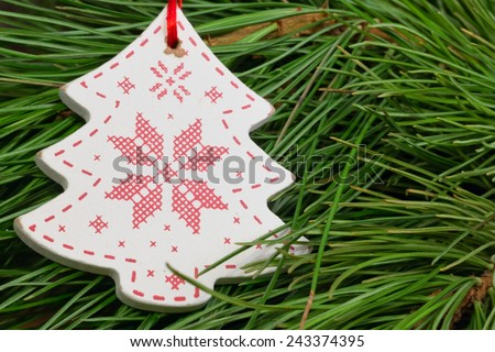 tree toy  christmas new year soft selective focus toned photo - stock photo