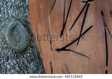 tree trunk and wrought iron