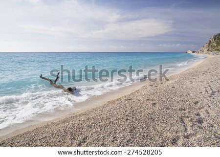 tree trunk, mussels. Kathisma beach in Lefkas island, Greece, sea background