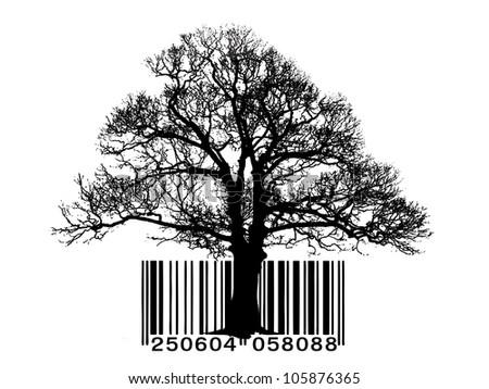 Tree vector barcode - stock photo