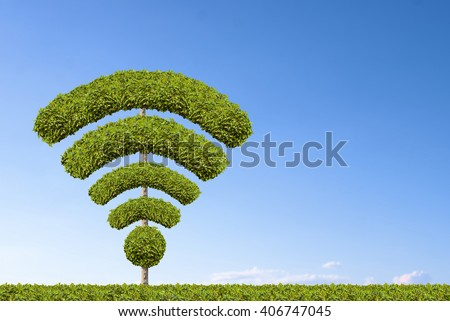 Tree wifi symbol, made by bushes shape. - stock photo