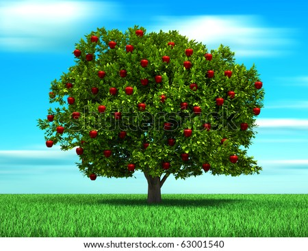 Tree with apple fruits, surreal and conceptual look - 3d render illustration - stock photo