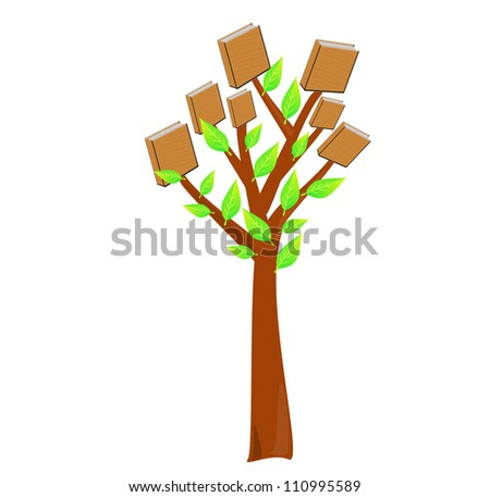 Tree with books on it-education concept - stock photo