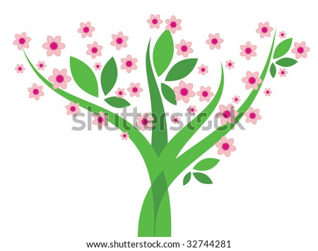 Tree with flowers - stock photo