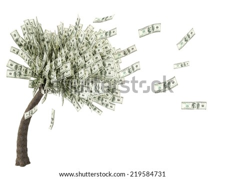 tree with leaves falling dollar illustration - stock photo