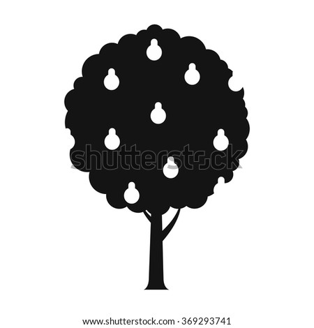 Tree with pears black simple icon on a white background - stock photo