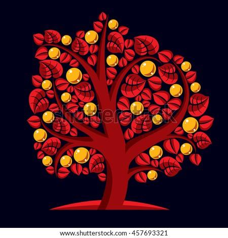 Tree with ripe apples, harvest season theme illustration. Fruitfulness and fertility idea symbolic image.  - stock photo