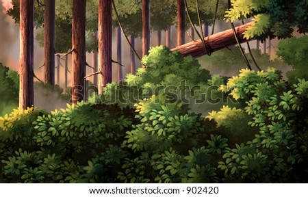 Tree with Rope in Forest - stock photo