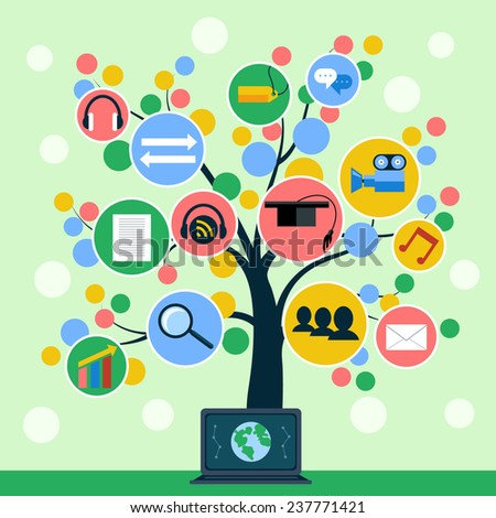 Tree with web icons on branch. Concept of social media, online education, e commerce, finance and business flat design. Raster version - stock photo