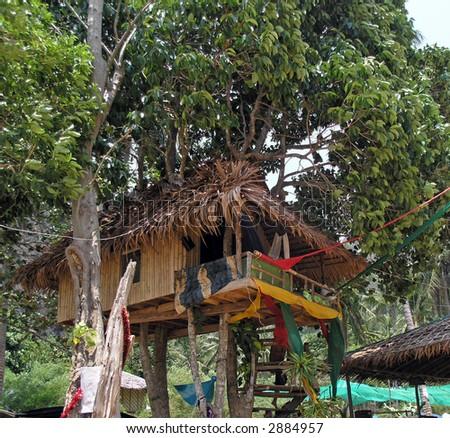 treehouse on the beach thailand - stock photo