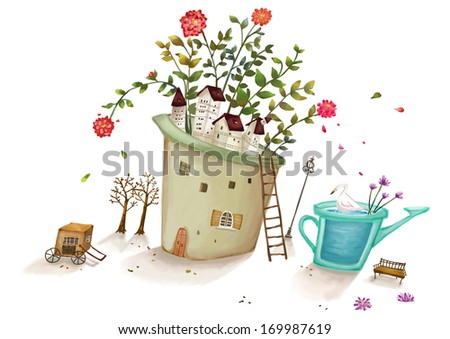 Trees and flowers sprouting out of the top of a building. - stock photo