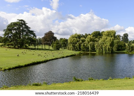 trees and lake in Leeds castle park, Maidstone, England trees and lake in large park at medieval castle, green nature shot in bright light under a cloudy sky  - stock photo
