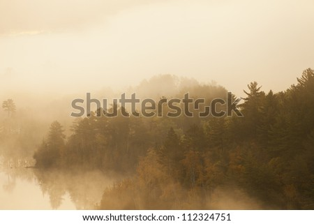 Trees and lake shrouded in fog on a morning in northern Minnesota - stock photo