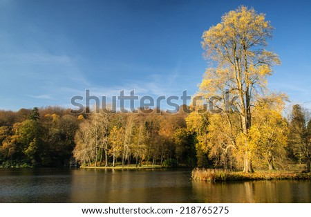Trees and main lake in Gardens during Autumn.