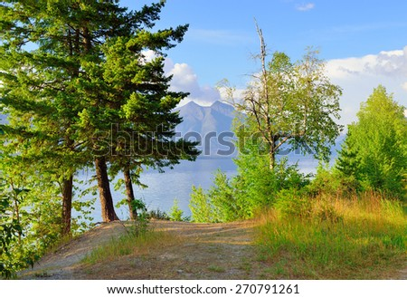 trees and Mountains by McDonald lake in Glacier National Park, Montana in summer - stock photo
