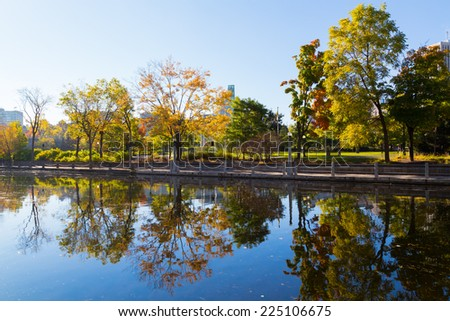 Trees and Reflections in Ottawa - stock photo