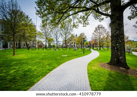 Trees and walkway at Loyola University Maryland, in Baltimore, Maryland. - stock photo
