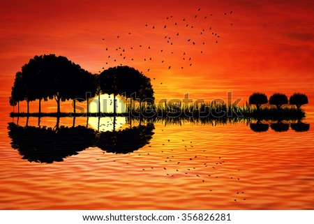 Trees arranged in a shape of a guitar on a sunset background. Music island with a guitar reflection in water - stock photo