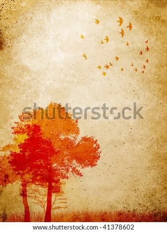 trees, birds and grass  over brown grunge styled wall - stock photo