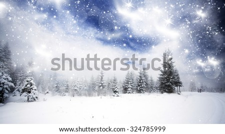 Trees covered with hoarfrost and snow in mountains - Christmas background - stock photo