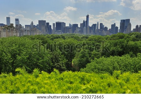 Trees in Central Park, New York City with skyscraper - stock photo